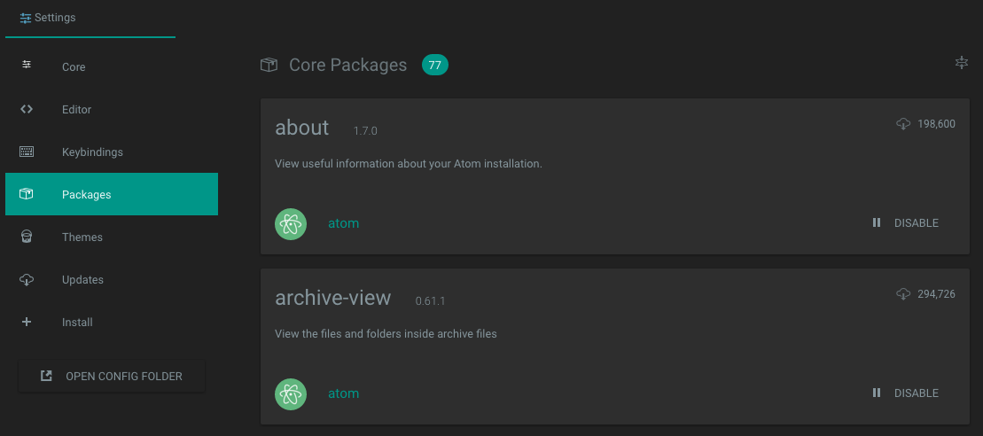 Atom Core Packages