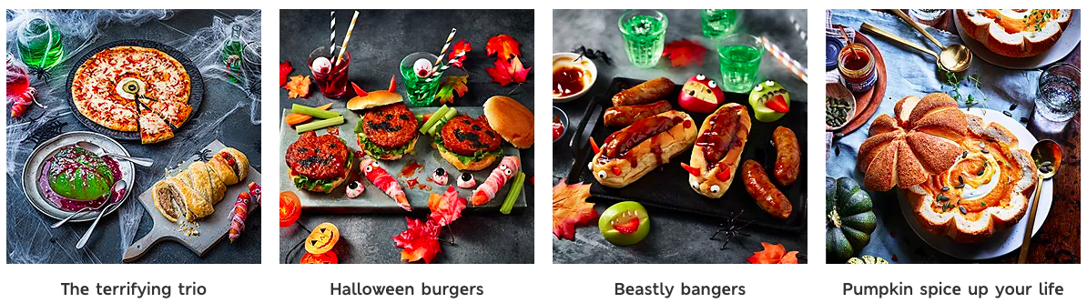 A screenshot of the Marks and Spencer Halloween food range showing burgers, hot dogs and jelly all in a spooky scene.