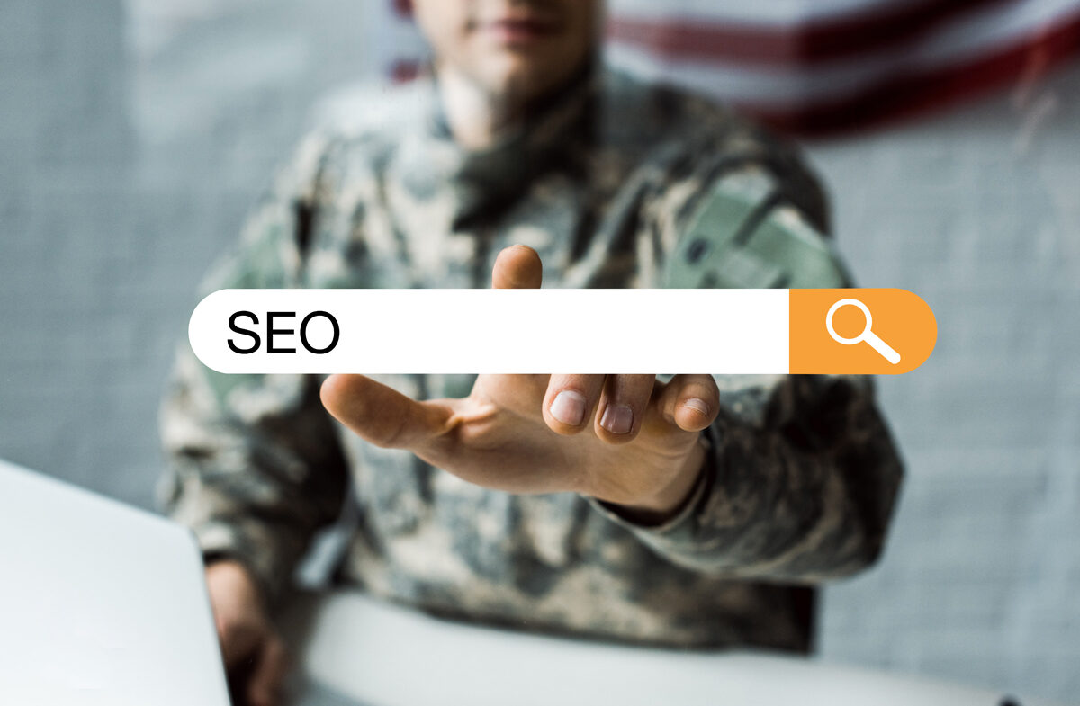 An internet search bar featuring the letters SEO