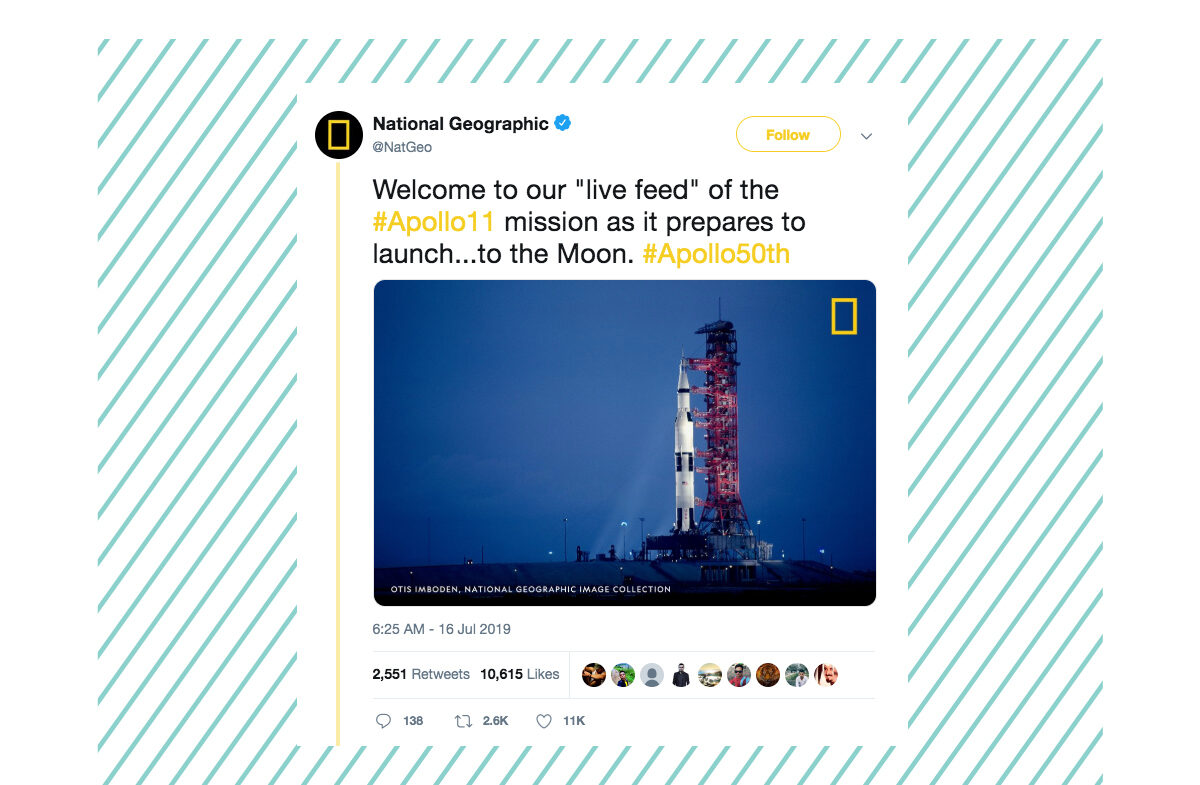 A tweet from National Geographic showing the Apollo 11 space shuttle