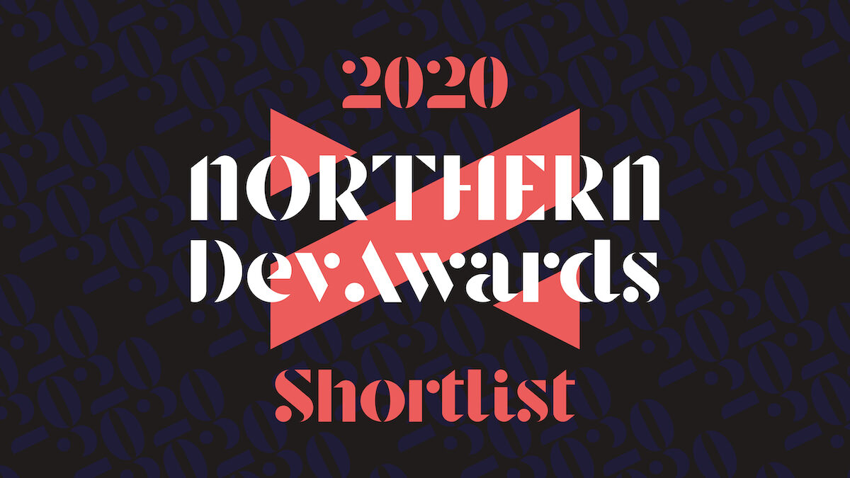 Northern Dev Awards poster in black, red and white