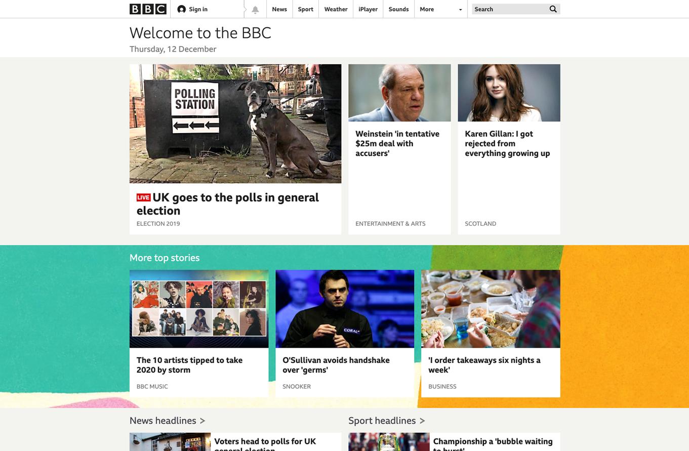 BBC homepage.