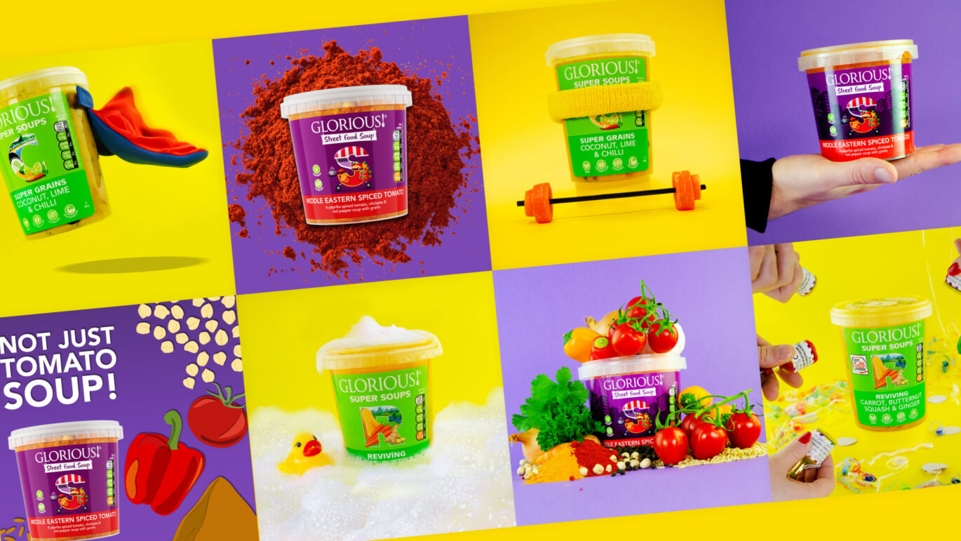 A collection of soups on yellow and purple backgrounds.