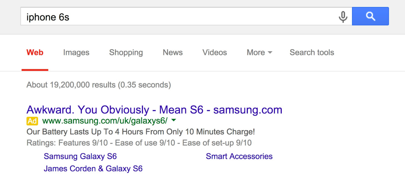 Screenshot of google search advert promoting the Samsung phone when the user searched for the latest Iphone model