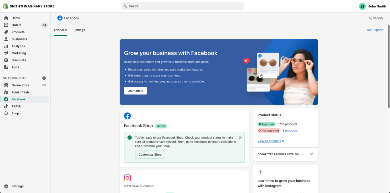 A screenshot of when the Facebook page has connected with the Shopify site as a sales channel.