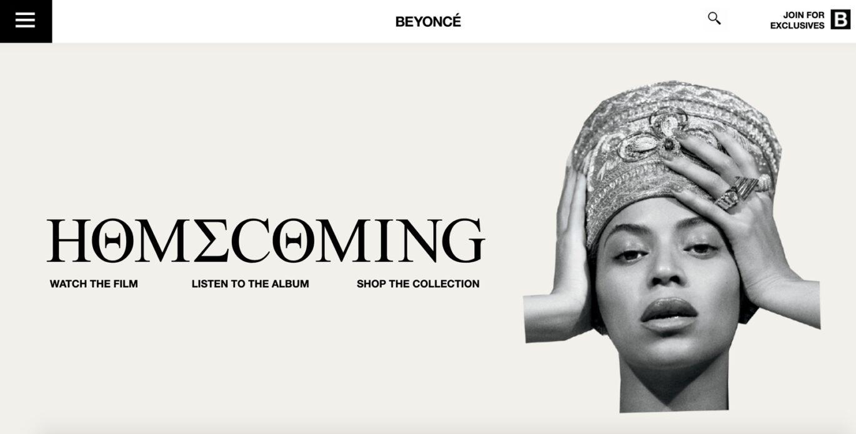 Beyonce.com homepage.