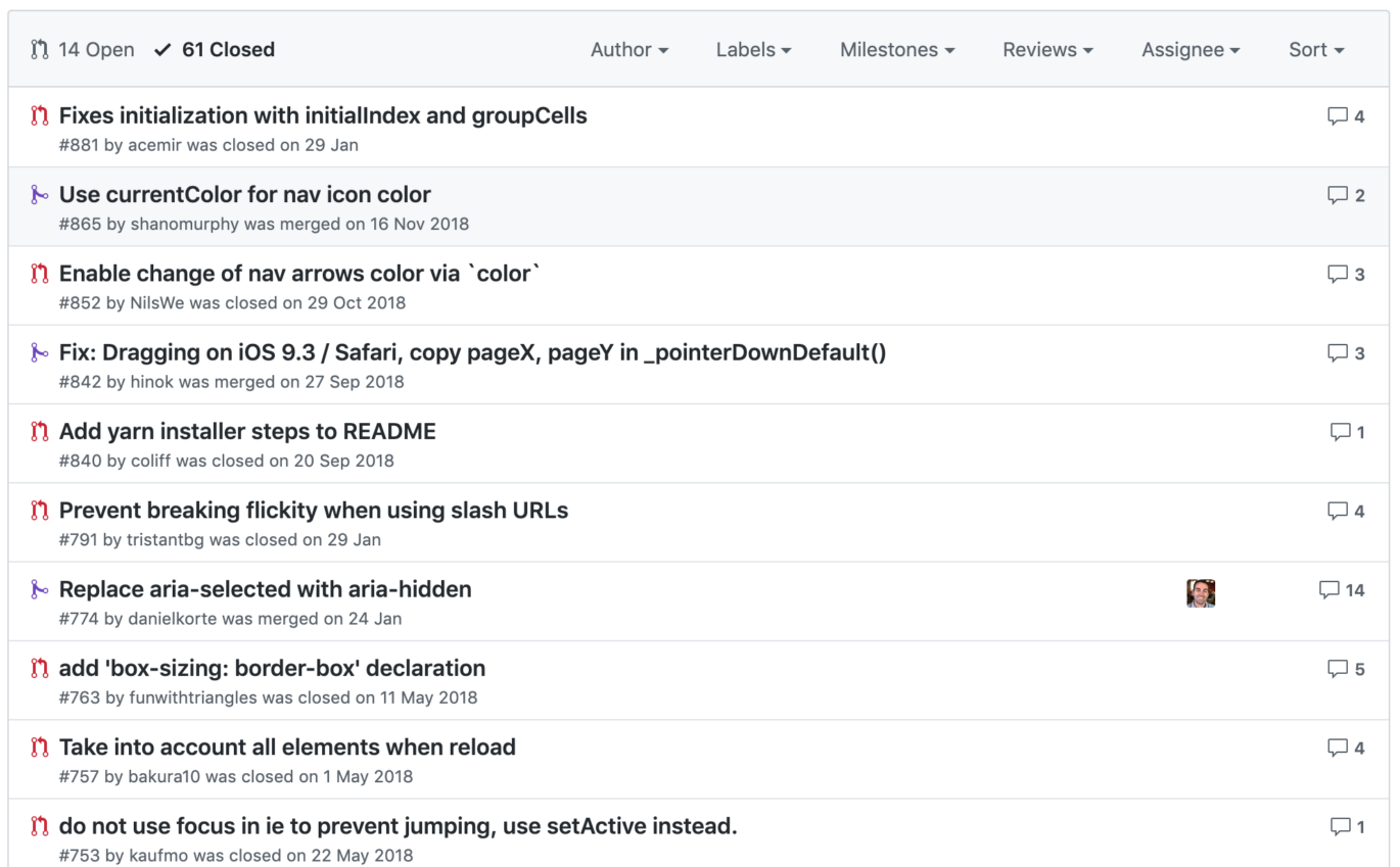 Closed issues on Flickity's Github repo.