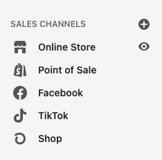 A screenshot of the Shopify menu to add Facebook and TikTok to their list of connected sales channels.