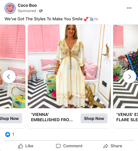 """A facebook advert of a woman wearing a long, patterned dress, with the caption """"We've got the styles to make you smile."""""""
