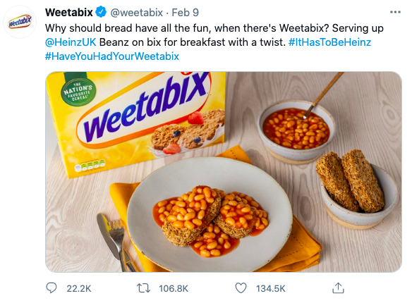 A screenshot of a viral weetabix tweet showing beans as a topping on top of weetabix breakfast cereal.