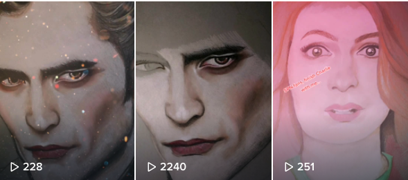 A screenshot of some of Amy's TikTok videos showing the process of the drawings of Robert Pattinson.