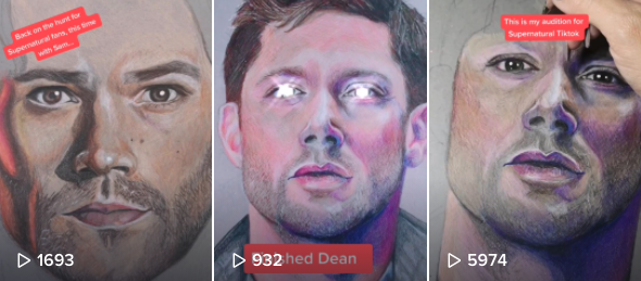 A screenshot of some of Amy's TikTok videos showing various characters from the show Supernatural.