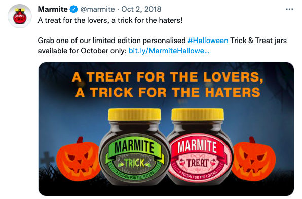 A screenshot of a tweet from Marmite promoting their two Halloween themed jars, one saying poison for the lovers and the other saying poison for the haters, playing on their famous tag line, you either love it or you hate it.