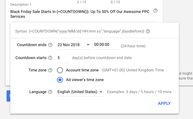Countdown Timers on Google Ads