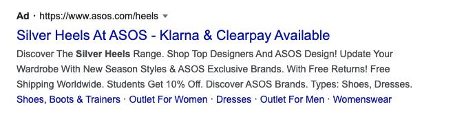 A screenshot of an ASOS Google advert for silver heeled shoes.