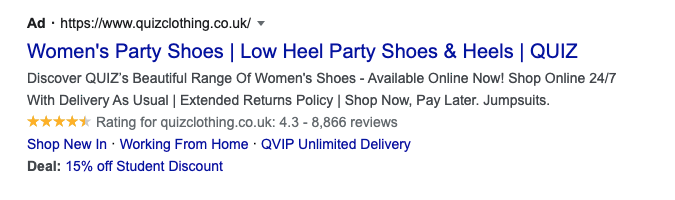 A screenshot of a Google advert for women's party shoes