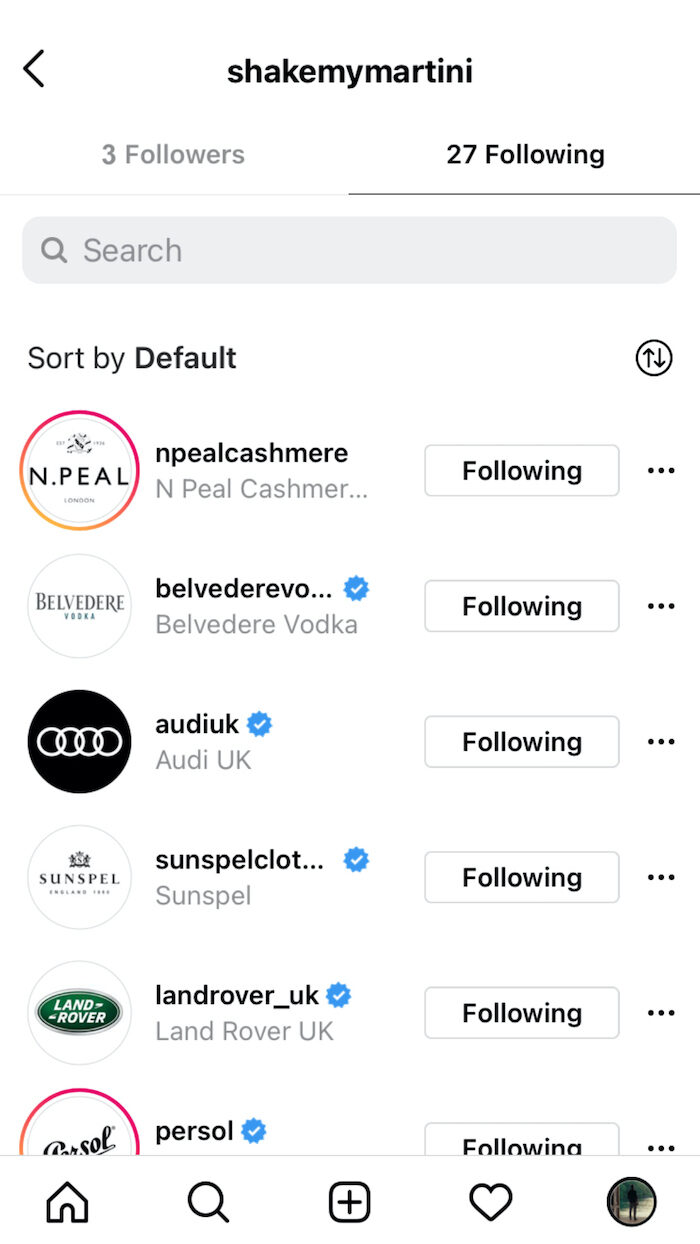 A screenshot of James Bond's following including Aston Martin and Tom Ford.