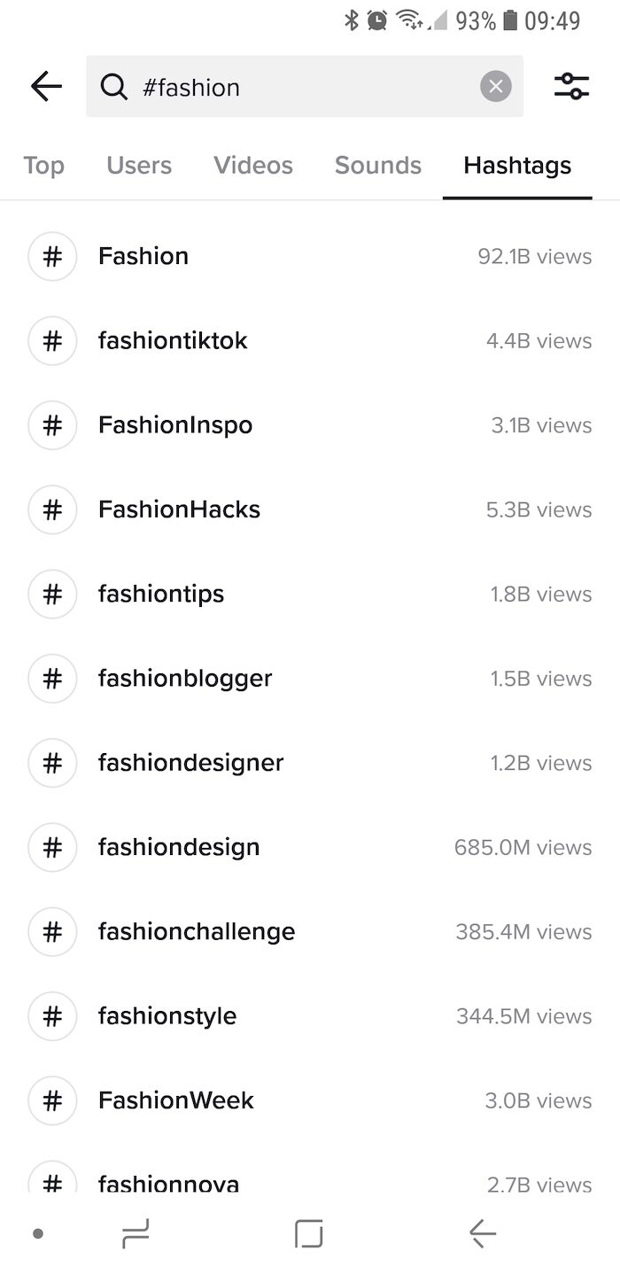 A screenshot of hashtags searched for on TikTok, showing the number of times it's been used on the app, such as hashtag fashion 4.4 billion views.