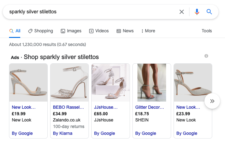 A screenshot of women's shoes available to buy on google.