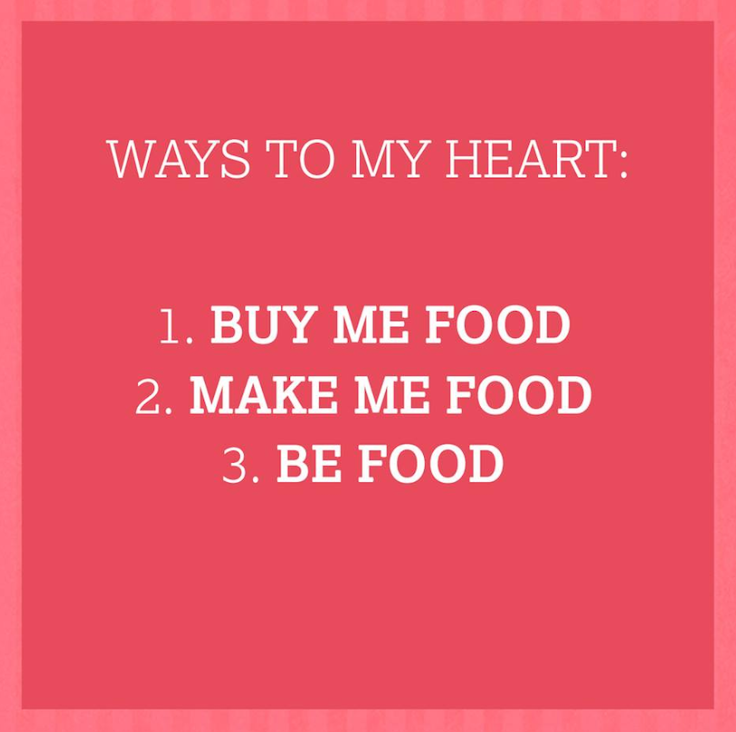 Nisa social media post describing the ways to someones heart: 1.Buy me food, 2.Make me food, 3.Be food on pink background