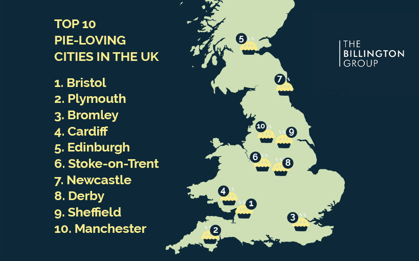 A map graphic to show the top pie-loving cities in the UK