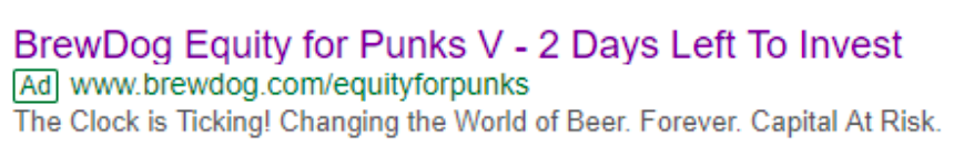 Screenshot of brewdog advert on google search saying 2 days left to invest
