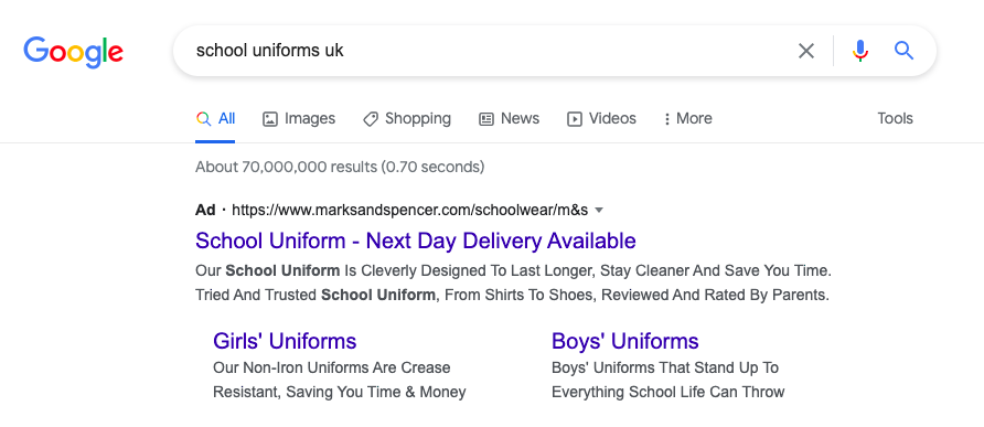 A screenshot of the Google Search page showing Marks and Spencer as the top search result for School Uniforms UK.