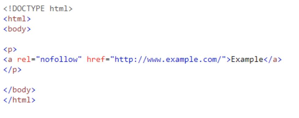 Example of rel=nofollow code